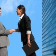 Stock Photo: Business couple shaking hands over deal outdoors.