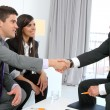Stock Photo: Business couple shaking hands with partner.