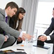 Business threesome at meeting. — Stock Photo