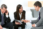 Business meeting with digital tablet. — Stock Photo