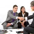 Stock Photo: Young couple at meeting with financial planner.
