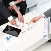 Hands on papers at business meeting. — Stock Photo
