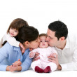 Happy family showing affection — Stock Photo