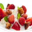 Stock Photo: Strawberries with yogurt ice cream