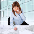 Female architect working at desk. — Stock Photo