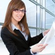 Stock Photo: Woman architect at desk in office.