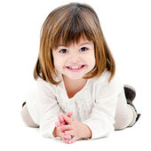 Portrait of cute little girl isolated on white — Stock Photo