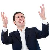 提高手的开心事业男人的肖像 — 图库照片