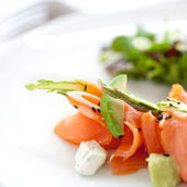Close up smoked Salmon salad — Stock Photo