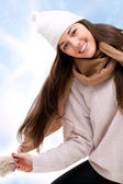 Attractive winter girl outdoors. — Stock Photo