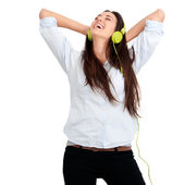 Girl feeling happy with music — Stock Photo