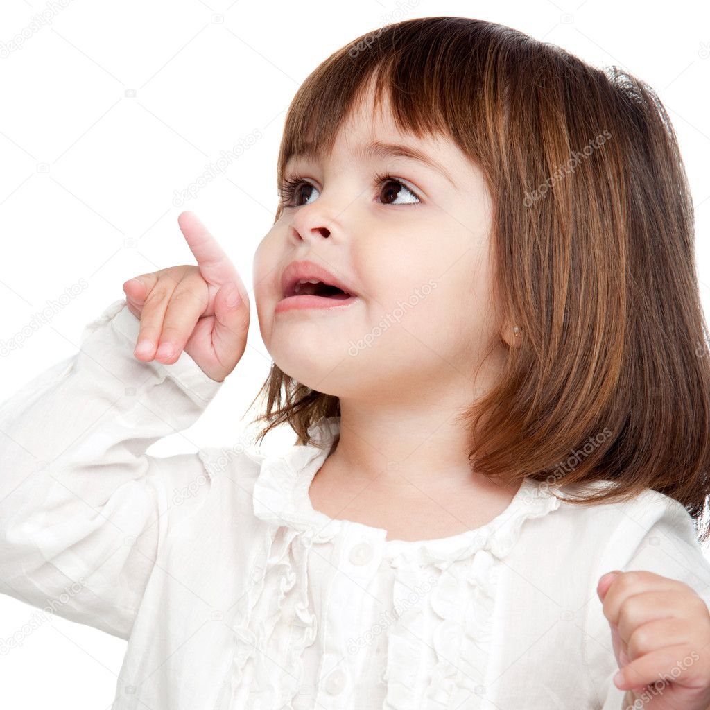 Cute little girl pointing with finger — Stock Photo ... Cute Baby Pointing Finger
