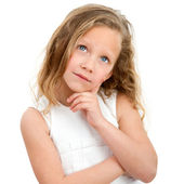 Portrait of young girl wondering. — Stock Photo