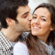 Close up kiss on girls cheek. — Stock Photo