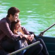 Close up of couple on small boat — Stock Photo