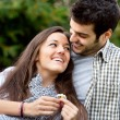 Close up of romantic couple in park. — Stock Photo #9725577