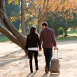 Couple walking in park with traveling trolley. — Stock Photo