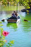 Couple on romantic boat ride. — Stock Photo