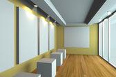 Boş oda sarı galeri — Stok fotoğraf