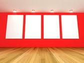 Galería sala vacía rojo — Foto de Stock