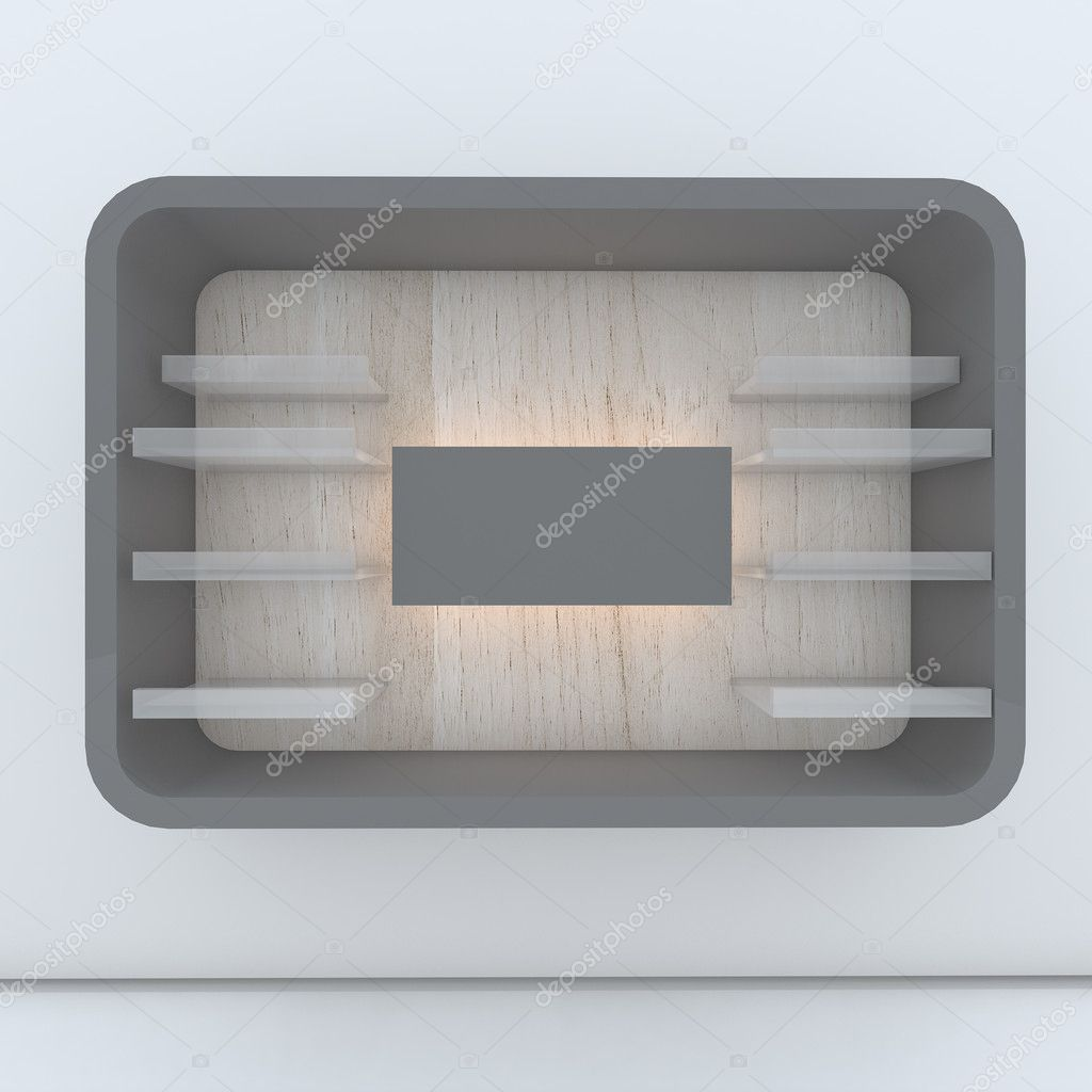 Gray shelf design with white wall  Stock Photo #10455590