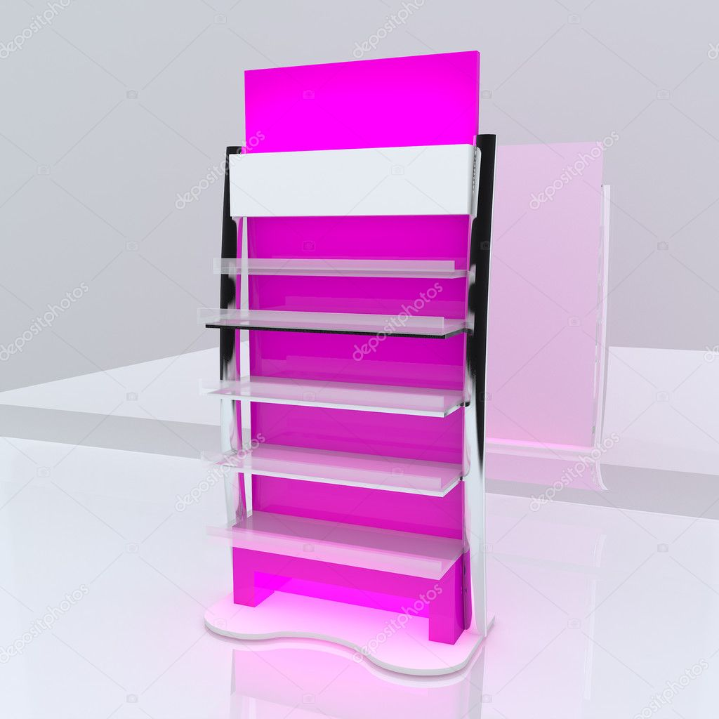 Pink shelf design with white background.  Stock Photo #10497268