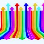 Rainbow arrows background — Stock Photo