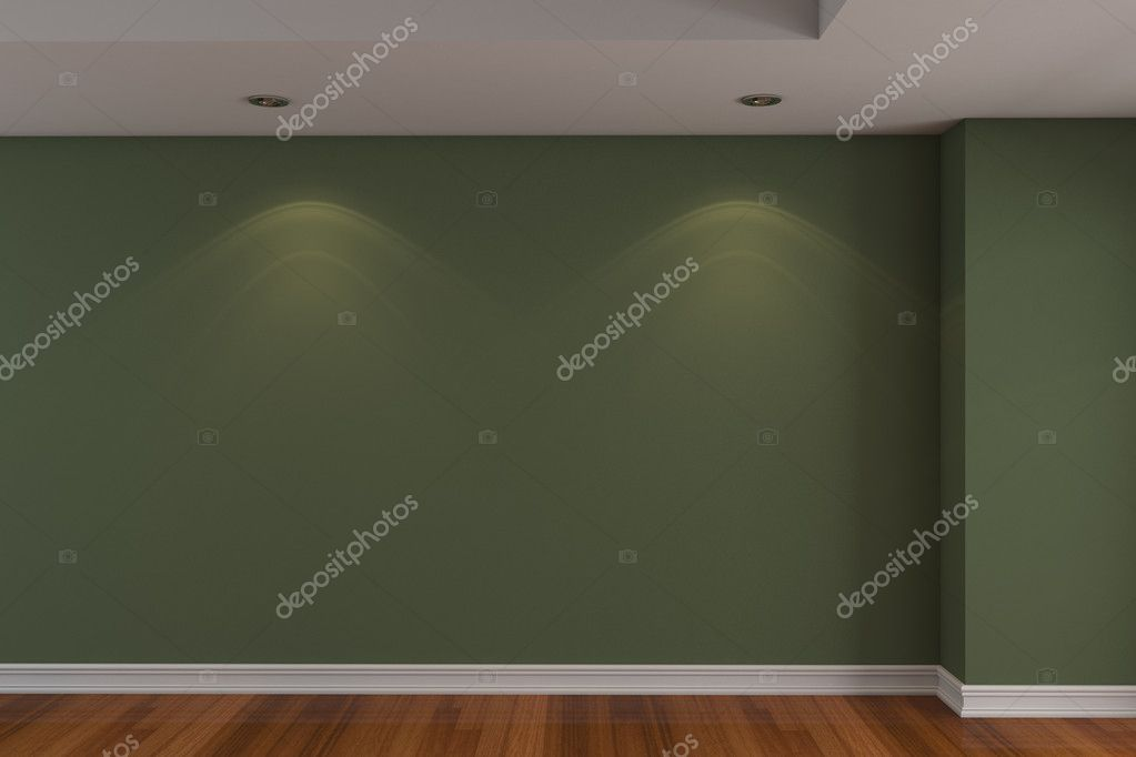 Home interior rendering with empty room dark green color wall and decorated with wooden floors. — Stock Photo #9636798