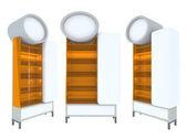 Leeres holz regal orange modernes design — Stockfoto