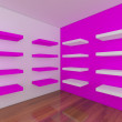 Shelves with empty pink room — Stock Photo