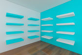 Shelves with empty blue room — Stock fotografie