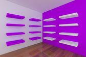 Shelves with empty purple room — Stock fotografie