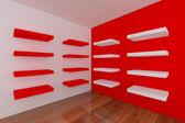 Police s prázdnou červený pokoj — Stock fotografie