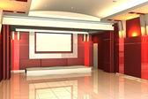 インテリア セミナー ルームの色の壁の空の部屋 — ストック写真