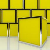 Leere abstrakte gelbe kästchen 3d-display — Stockfoto