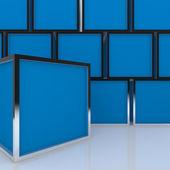 Leere abstract-blue-box-3d-display — Stockfoto