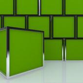 Leere abstrakte greenbox-3d-display — Stockfoto
