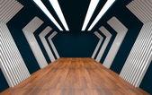 Quarto vazio decorados parede de alumínio e piso de madeira. — Fotografia Stock