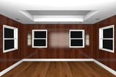 Home interior 3D rendering with empty room — Stock Photo