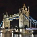 Тауэрский мост ночью, Лондон — Стоковое фото