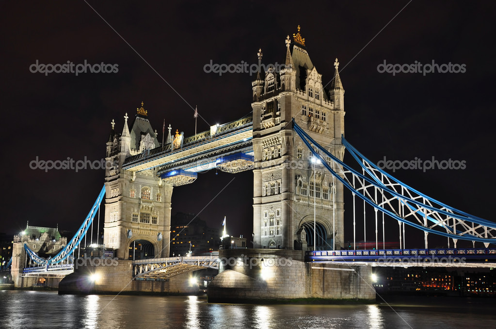 Tower Bridge at night, London, HDR photo   Stock Photo #9354418