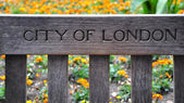 City of London written on the bench — Stock Photo
