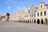 Square of city Telc, Czech republic — Stock Photo