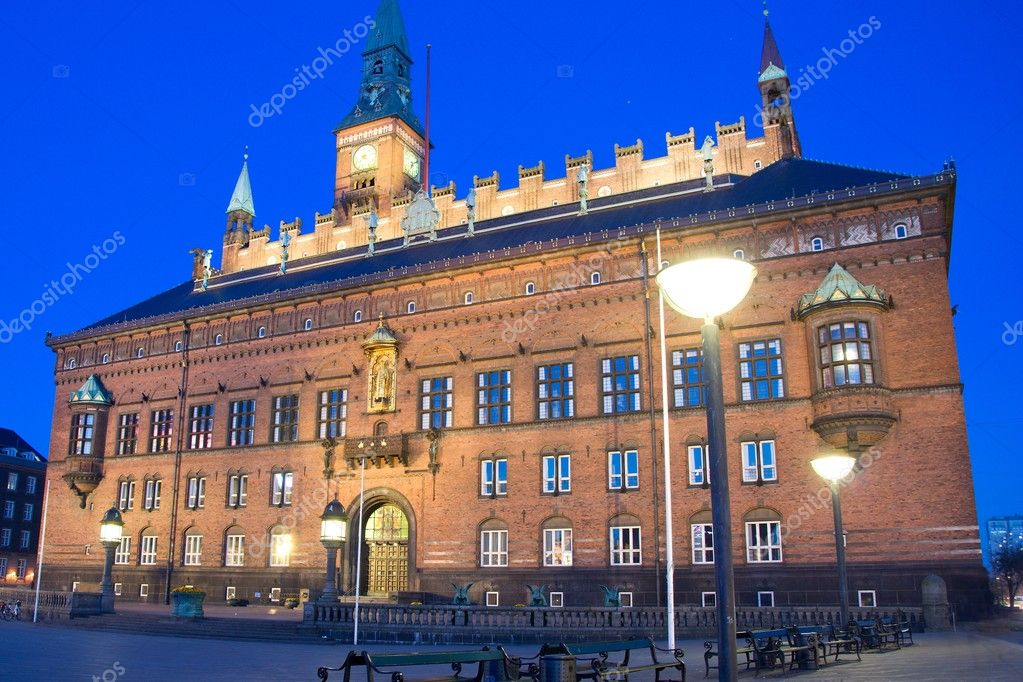 Night scene of Town hall in Copenhagen — Stock Photo #9741414