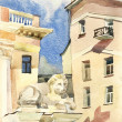 Moscow lion guardian watercolor — Stock Photo