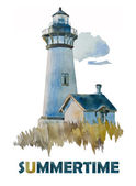 Watercolor Summer lighthouse — Stock Photo