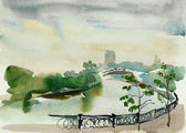 Moscow embankment watercolor — Stock Photo