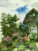 Country summerhouses watercolor — Stock Photo