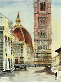 Florence duomo watercolor — Stock Photo