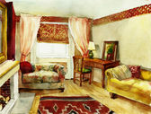 Classic interior watercolor — Stock Photo